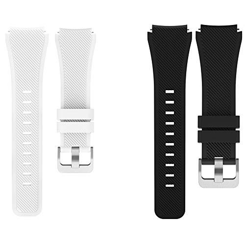 LvBu Armband Kompatibel Für PowerWatch 2, Sport Silikon Classic Ersatz Uhrenarmband Für Matrix PowerWatch 2 Smartwatch (Schwarz+Weiß)