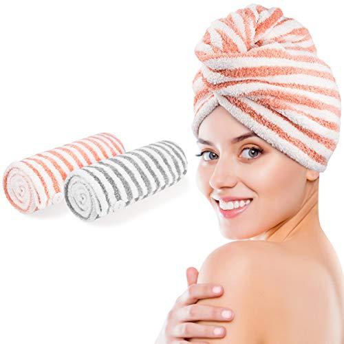 HWeggo Turban Handtuch, Haarturban mit Knopf Mikrofaser Haartrockentuch Hochsaugfähig Schnell Trocknend Superweich Handtuch Turban 2er Set für Mädchen Frauen (Streifen Rosa & Grau)