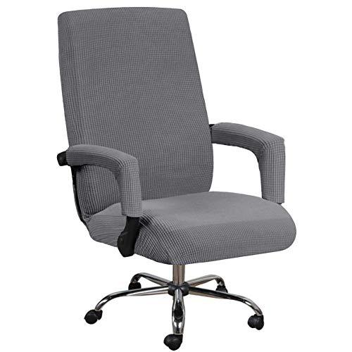 Fundas elásticas para silla de oficina con mangas de apoyabrazos, patrón jacquard, respaldo alto, fundas extraíbles y estirables, para silla giratoria universal (XL, gris)