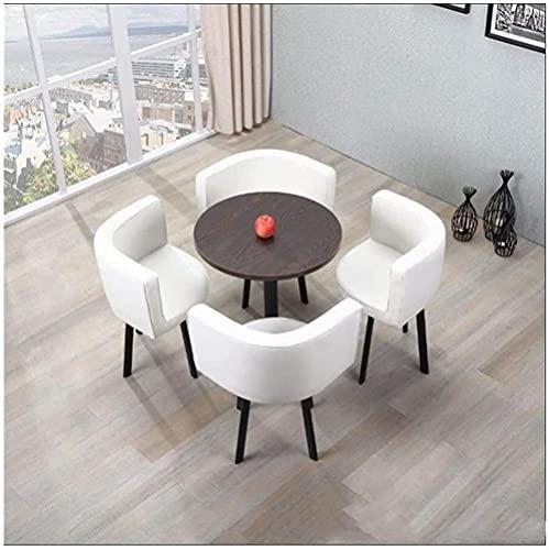 XKun Juego de mesa de cocina, varias mesas de tienda y combinación de sillas, mesas y sillas de 5 piezas, combinación de mesas y sillas modernas, mesa y sillas vintage (color: blanco)