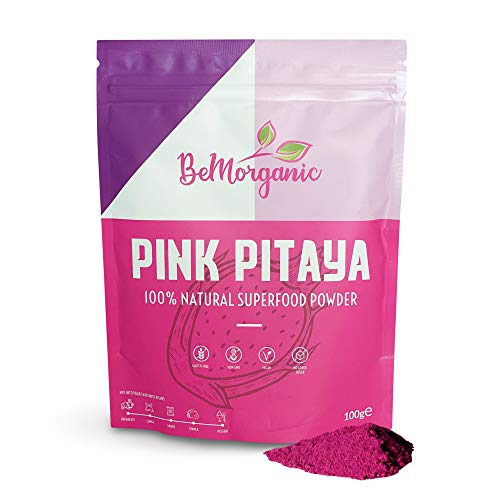 Pitaya Powder by BeMorganic – All-Natural Freeze-Dried Dragon Fruit Powder – 100g Pink Vegan Smoothie Powder – Superfood Pink Powder for Smoothie, Pastry, Lattes and Sweets – No Added Sugar or Gluten