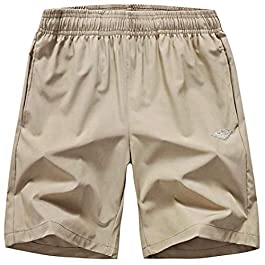 EXEKE Men's Quick Dry Shorts Lightweight Hiking Shorts Gym Workout Shorts Zipper Pockets
