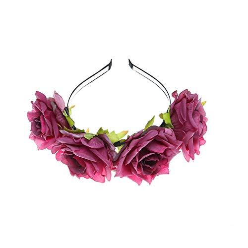 YAZILIND tela grande rosa flor Navidad accesorios para el cabello foto
