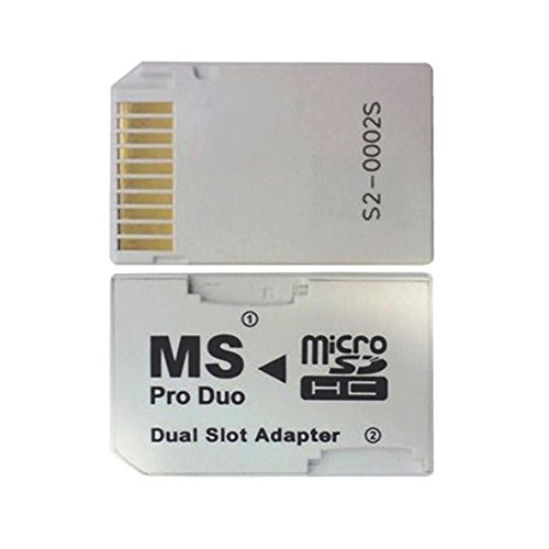 Gonioa Micro SD TF to Memory Stick MS Pro Duo PSP Card Dual 2 Slot Adapter Converter, White