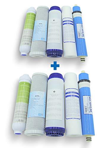 Filtros de Osmosis (2 JUEGOS). Kit Oferta Membrana + Filtros para Ósmosis Inversa. Filtros para osmosis 5 etapas. Universales. Modelo Jacar compatible 100x100. Recambio filtros osmosis. Filtros depura