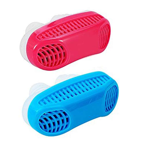 Anti Snore Snoring Devices Aids, 2 Pack 2 in 1 Anti Snore Nose Purifier Snore Stopper Nose Vents Solution Blocker Preventer Relief for Women Men to Stop Snoring Noise Silent Night Sleep (red+Blue)