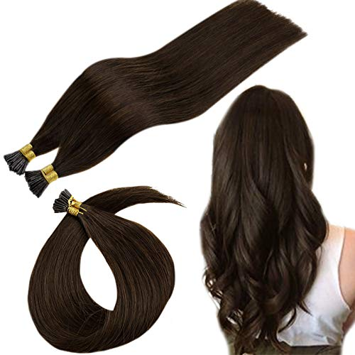 Runature I Tip Hair Extensions Human Hair Dark Brown Hair Extensions 14 Inch 50 Strands 40g 100% Real Hair Kertain Hair Extensions Remy Hair