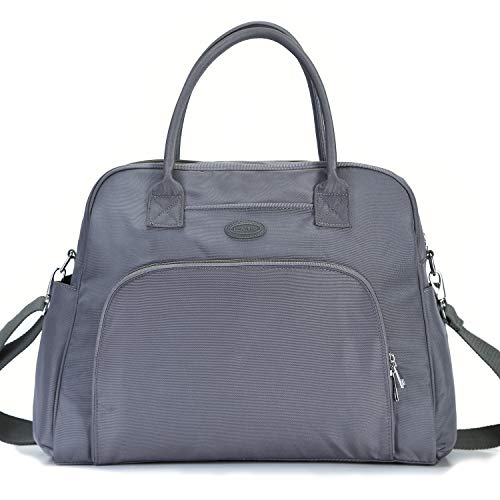 Lily & Drew Carry On Weekender Overnight Travel Shoulder Bag for 15.6 Inch Laptop Computers for Women (Grey V2)