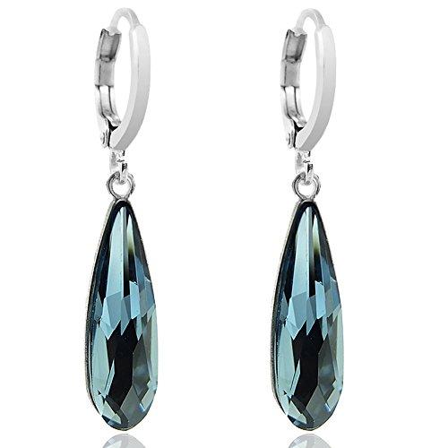 Creolen mit Kristallen von Swarovski® Blau Silber NOBEL SCHMUCK