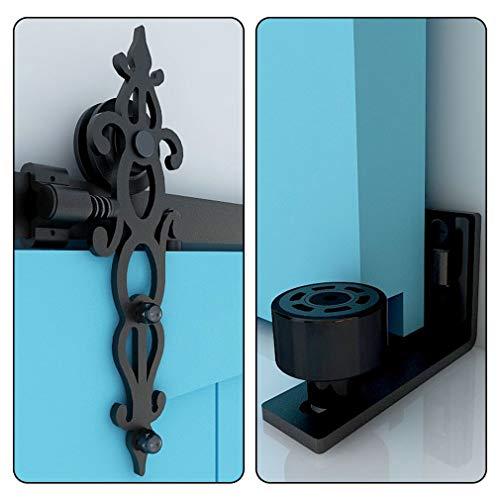 152CM/5FT Herraje para Puerta Corredera Kit de Accesorios, Guia Riel Puertas Correderas, Forma Tejido de una sola puerta estilo