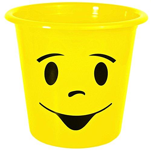 1 Stück _ Papierkorb / Behälter -  lustiges, zwinkerndes Gesicht - NEON gelb  - 5 Liter - aus Kunststoff - Mülleimer Eimer / auch als Blumentopf nutzbar - E..