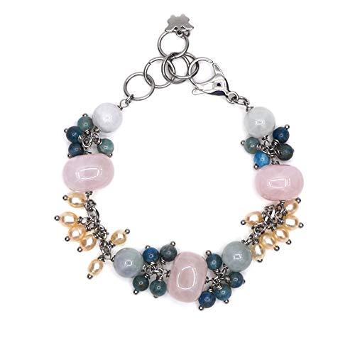 Bracciale in acciaio: quarzo rosa, giada, apatite blu, perla d'acqua dolce.