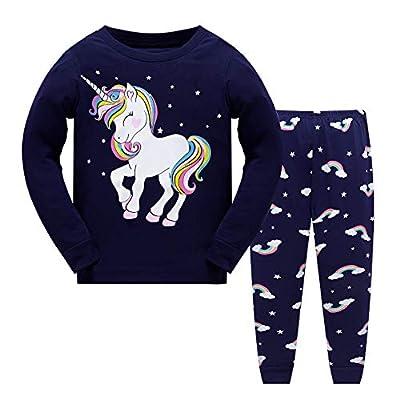 Tkiames - Pijama para niña de jirafa (2 piezas, ajustado, corte estrecho, 100% algodón, tallas de 1 a 10 años) Navy 1 9-10 Años