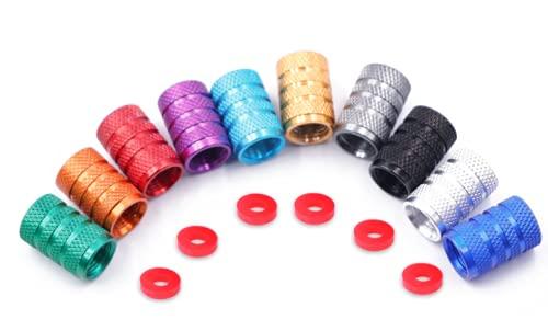 Shoplifemore Tapas para válvula de neumático, tapas para válvula de neumático, tapas de aluminio a prueba de polvo, vástago de rueda de neumáticos, tapas a prueba de polvo, 8 unidades, color rojo