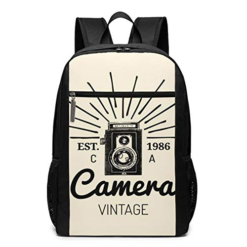 School Backpack Graphy Camera Label Badge, College Book Bag Business Travel Daypack Casual Rucksack for Men Women Teenagers Girl Boy