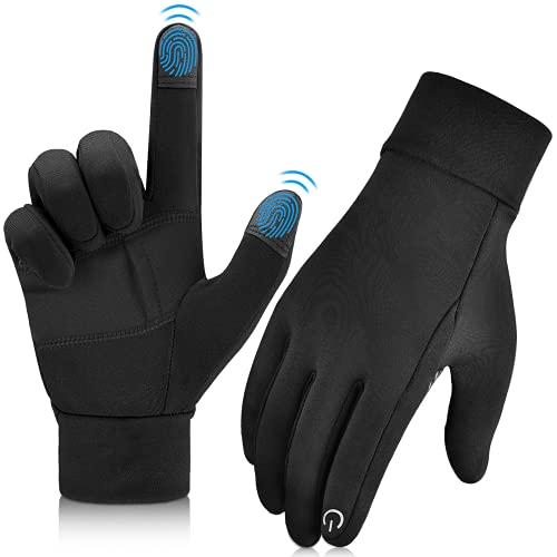 OOPOR Fahrradhandschuhe Handschuhe Touchscreen Herren Damen - Unisex Herbst Frühwinter Warm Laufhandschuhe Winddicht mit kleiner Tasche Sporthandschuhe für Outdoor Sport Fitness Lauf Motorrad Schwarz