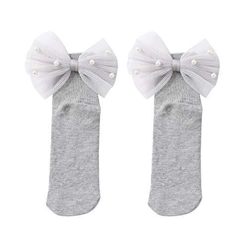 Sanwood Faux Pearl Respirant Tube Moyen Chaussettes Chaudes Coton Princesse Chaussettes pour Bébé Enfants Filles Grey S