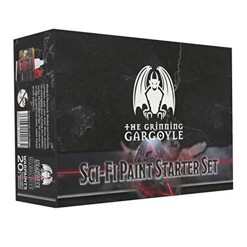 Sci-Fi Paint Starter Set - Acrylfarben für Miniaturen - 20x Verschiedene 18ml Farben mit einem Pinsel - Army Painter Warpaints für Space Marine und Aliens - Grinning Gargoyle GAR-FPS003 (Sci Fi)