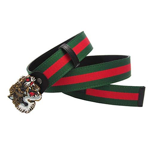 HUANPIN Men's Belt Men's Canvas Tiger Buckle Belt Fashion Business Tiger Buckle Belt Trend Men's Pants Belt,105CM