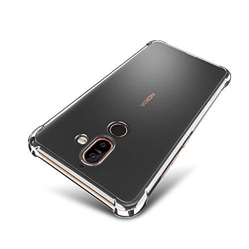 SLEO Custodia Nokia 7 Plus [Custodia Silicone Gel Protezione] Morbido TPU Ispessimento del Bordo [Trasparente Cristallo] Nokia 7 Plus Shell del telefono - Trasparente