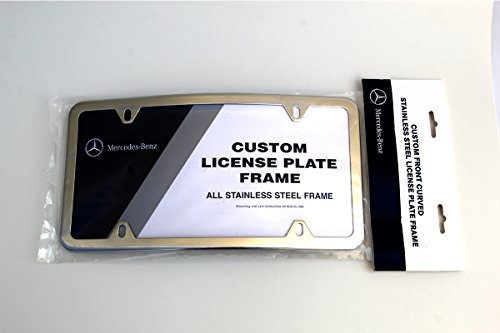 MERCEDES-BENZ CURVED POLISHED STAINLESS STEEL LICENSE PLATE FRAME GENUINE OEM