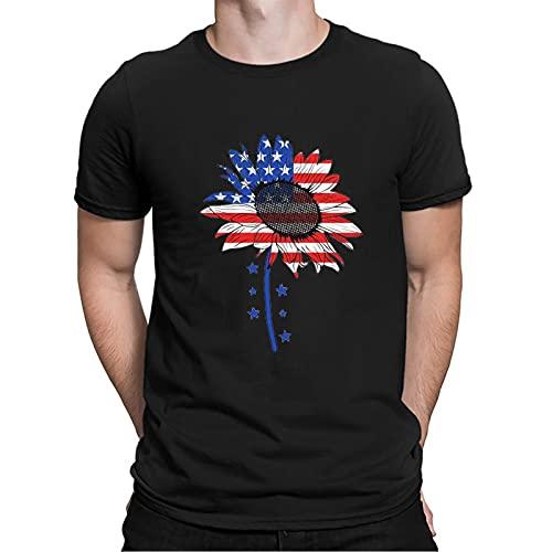 YSYOkow Verano 3D impresión digital de los hombres de la independencia día camiseta manga corta blusa