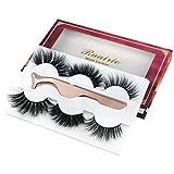 Ruairie 3D Mink Lashes, 3 Styles 100% Real Mink Eyelashes Soft Handmade Fluffy 20mm Mink Lashes Strip