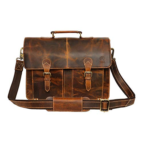 ✅ DIMENSIONS... 16 x 11 x 5 inch (LxHxW). The bag has an ample space to keep your favourite Macbooks, Chromebooks and Laptops upto 15.6 inches in size. ✅ REAL RUGGED BUFFALO LEATHER… 100% genuine, not PU or faux but natural, beautiful & handmade; oil...