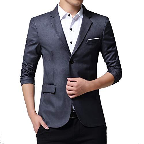WHSHINE Herren Mode Slim Fit Sakko Blazer Anzugjack Herbst Freizeit Einfarbig Zwei Schnallen klassisch Revers Business Party Bequem Outdoor Anzug Jacke