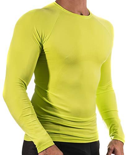 13MW Camiseta Térmica Profesional   Hombre   Tejido Reforzado   Transpirable (Amarillo Flúor, M-L)