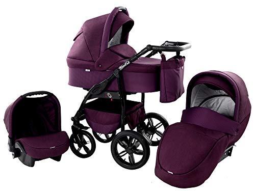 Kinderwagen Babywagen Kombikinderwagen Zeo Wind 3 in 1 Komplettset mit Zubehör 0-3 Jahre 0-15 kg Insektenschutz Einkaufstasche Regenschutz Getränkehalter Buggy Autositz (55)
