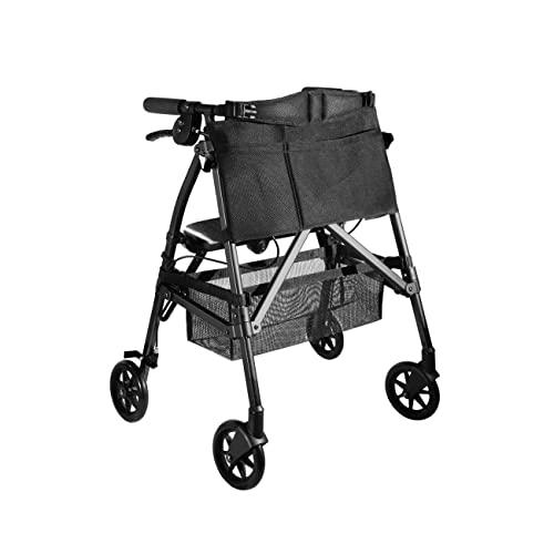Stander EZ Fold-N-Go Rollator Short, Lightweight Junior Folding Walker for Seniors and Adults, Petite Walker with Wheels and Seat, Black Walnut