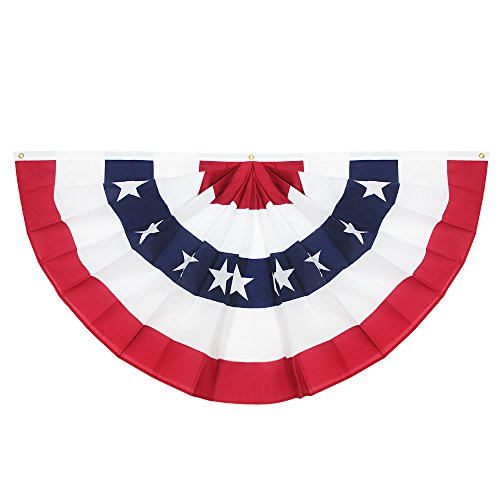ANLEY USA Pleated Fan Flag, 1.5x3 ft American US Bunting Flag Patriotic Stars & Stripes - Sharp Color and Fade Resistant - Canvas Header and Brass Grommets - United States 1.5 x 3 Feet Half Fan Banner