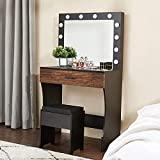 Vanity Table Set with Lighted Mirror, Makeup Vanity Desk for Girls Women, Larger Drawer and Cushioned Stool with Extra Storage Space