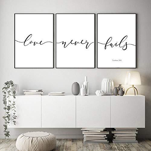woplmh Bibelverse Typografie Christliche Wandkunst Leinwand Malerei Inspirierende Poster Und Drucke Wandbilder-40x60cmx3 / kein Rahmen