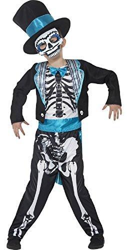 Fancy Me Jungen Tag der Toten Bräutigam Skelett Mexikanisch Zuckerschädel Halloween Kostüm 4-12 Jahre - 7-9 Years