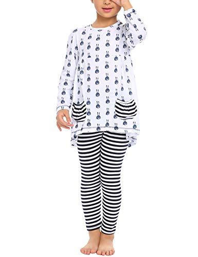 Arshiner Little Girls Long Sleeve Cute Rabbit Print with Pockets Cotton Outfit 6 pcs Pants Sets Top+Legging,White,120(6-7years old)