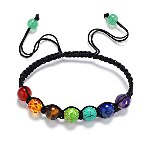 QQWA 7 Chakra Natural Stone Yoga Balancing Charm Bracelet Women Jewellery Anniversary Jewellery Birthday Gifts for Women
