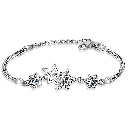 WLLLTY Pulsera Mujer, Pulsera y Brazalete con Encanto de Estrella de Cristal de Plata de Ley 925, joyería de Boda para Mujer