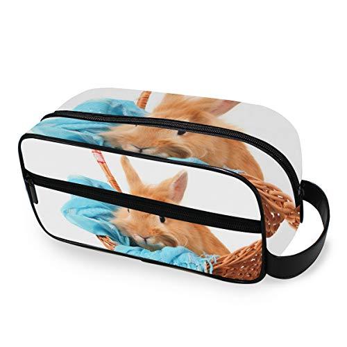 Portable Trousse De Toilette Lapin Lapin Dans Le Panier Avec Écharpe Bleue Maquillage Sac Outils Cosmétique Train Case Voyage Poches De Stockage