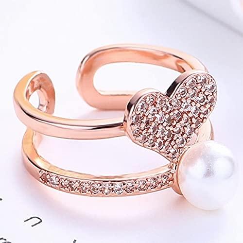 DJMJHG Moda Caliente 925 Anillos de Plata esterlina de Doble Capa de circón Perla Anillos de Amor joyería de Compromiso para MujerOro Rosa