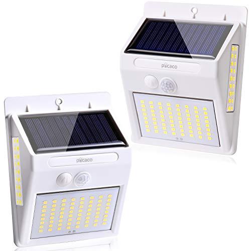 カインズガーデン センサーライト ソーラーライト 2200mAh 大容量 【1年保証付き】 LED 人感センサー 屋外 取付簡単 両面テープ おしゃれ ピカコ 2個セット (ホワイト)