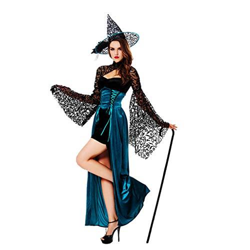 0-0 Halloween, carnaval, kostuum, cosplay, heks horror voor volwassenen jurk, blauw (hoed mono, jurk)
