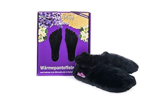 Habibi Plush Classic – 1510 Slippers schwarz, Gr. M (37-40) Wärmepantoffeln/Wärmeschuhe zum Erwärmen in der Mikrowelle/Backofen