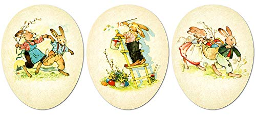 Easter Eggs for Easter Basket Stuffers Easter Egg Hunt, Country Bunny Easter Decor, Fillable Paper Mache Easter Eggs, Easter Gifts 3.5 Inches Set of 3