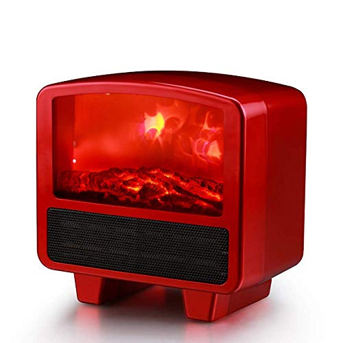 Nfudishpu Mini Flame Fireplace Heater -3d Heater Speed ??Hot Plug Office Home Small Electric Heater Independent Fireplace Log Fuel Effect Desktop Heater For indoor and outdoor