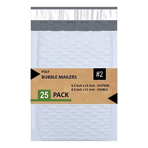 Sales4Less 2 Poly Bubble Mailers 8.5X12 Inches Padded Envelope Mailer Waterproof Pack of 25, White