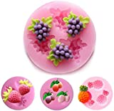 Baifeng 4 Piece Fruit Silicone Cake Molds,Fondant Soap Moulds, Grape Cherry Pineapple Strawberry Shape Mold Dessert Pastry