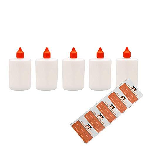 Ovale Liquid-Flaschen 5 x 125ml - Flachmann, Kunststoffflaschen aus weichem HDPE inkl. 5 Etiketten (weiß/transparent) - Liquid Flasche - Tropfflaschen,Dosierflaschen,Dropper Flaschen,Quetschflaschen