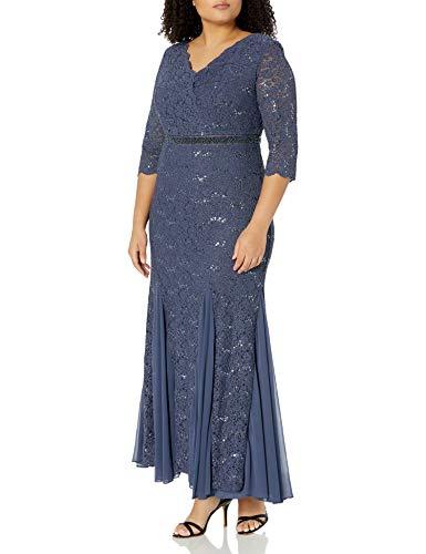 Alex Evenings Women's Plus-Size Fit and Flare Long Lace Dress, Violet, 16W (Apparel)
